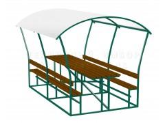Беседка Летняя (каркас+доски+поликарбонат на крышу), цвет зелёный [ФМ929]